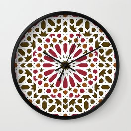 -A1- Red Traditional Moroccan Zellij Artwork. Wall Clock