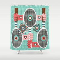 tennis Shower Curtains featuring Tennis anyone? by Amy Gale