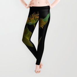 Inula Helenium, Elecampane Mary Delany Vintage Botanical Floral Collage Delicate Paper Flowers Leggings