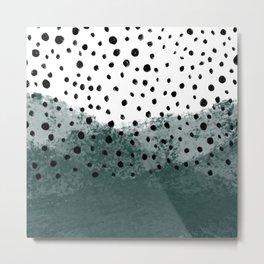 teal polka dots Metal Print