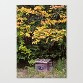 Little Red Shack in Mountains in Autumn Canvas Print