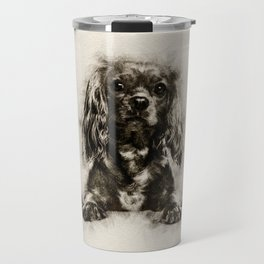 Cavalier King Charles Spaniel Puppy Sketch Travel Mug