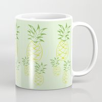 pineapple Mugs featuring Pineapple by Tanya Thomas