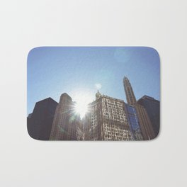The Sun Piercing the Chicago City Skyline Bath Mat
