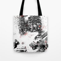 neil gaiman Tote Bags featuring Simon Neil by Vinny Ten Legs