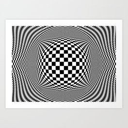 Optical Illusion Checkers Chequeres  Art Print