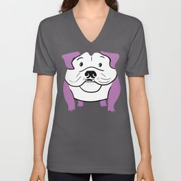 Galaxy Bulldog - Purple Unisex V-Neck