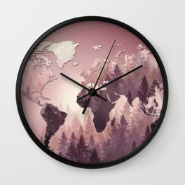 world map forest 3 Wall Clock