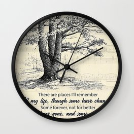 In my life. Vintage illustration poster art. Wall Clock