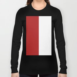 White and Firebrick Red Vertical Halves Long Sleeve T-shirt