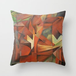 Foxes - Homage to Franz Marc (1913) Throw Pillow