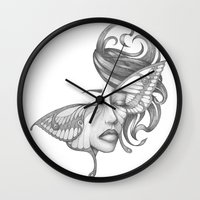 moth Wall Clocks featuring Moth by Tooth & Arrow Co