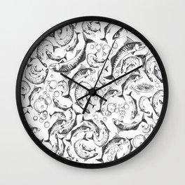 mackerel greyscale Wall Clock