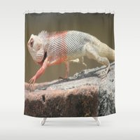 chameleon Shower Curtains featuring Chameleon  by Four Hands Art