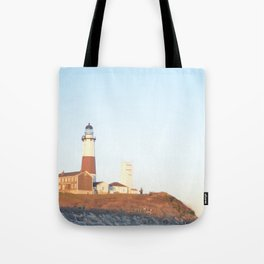 Sunset at Lighthouse in East Hampton Tote Bag