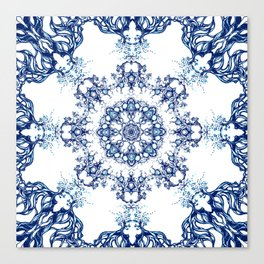 blue garden mandala Canvas Print