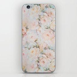 Vintage romantic blush pink ivory elegant rose floral iPhone Skin