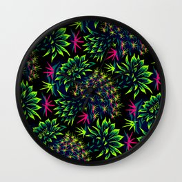 Cactus Floral - Bright Green/Pink Wall Clock