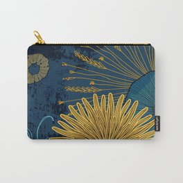 Navy floral background Carry-All Pouch