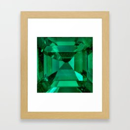 FACETED EMERALD GREEN MAY GEMSTONE Framed Art Print