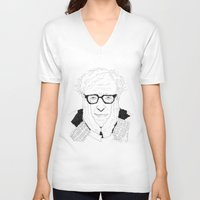 woody allen V-neck T-shirts featuring Woody Allen by lena kuzina