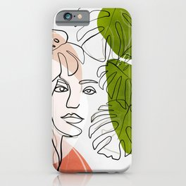 woman plant line art minimal iPhone Case