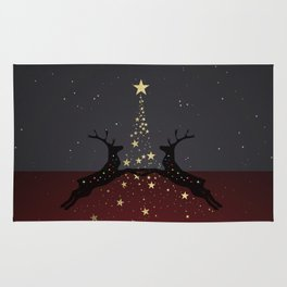 Champagne Gold Star Christmas Tree with Magical Reindeers - Shiny Red Rug