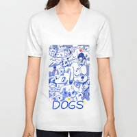 dogs V-neck T-shirts featuring Dogs✧ by Natali Koromoto