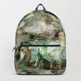 Teal Contemporary and Abstract Painting Backpack