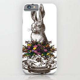 Rabbit in a Teacup | Rabbit and Flowers | Bunny Rabbits | Bunnies | Easter Rabbits | Hares | iPhone Case