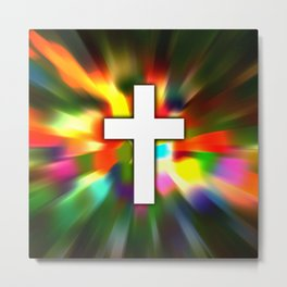 Cross in Color - Bible Lock Screens Metal Print