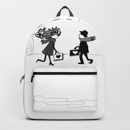two people carrying love Backpack