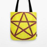 pentagram Tote Bags featuring Pentagram by Ria-Ra
