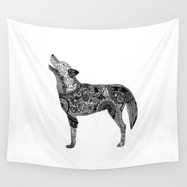 Henna-Inspired Wolf Wall Tapestry