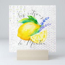 Les Citrons de Menton—Lemons and Lavender, Provence Mini Art Print