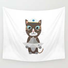 Captain cat with paper ship   Wall Tapestry