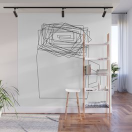 Coffee Illustration Black and White Drawing One Line Art Wall Mural