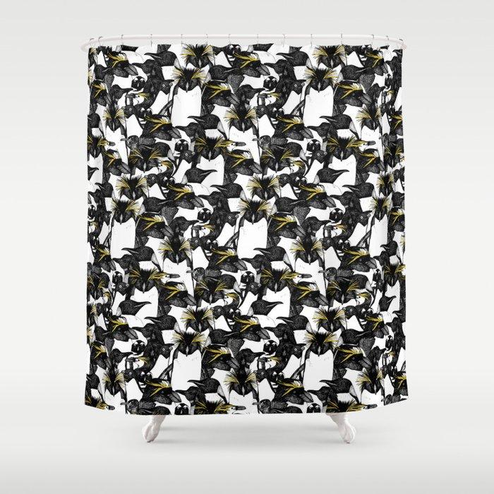 Just Penguins Black White Yellow Shower Curtain By Sharonturner