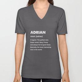 Mens Adrian Name Gift design Unisex V-Neck