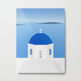 Blue Dome Church, Oia, Santorini, Greece Metal Print