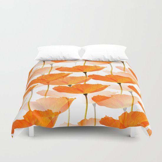 Orange Poppies On A White Background #decor #society6 #buyart by pivivikstrm