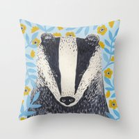 british Throw Pillows featuring British Badger by stephanie cole DESIGN