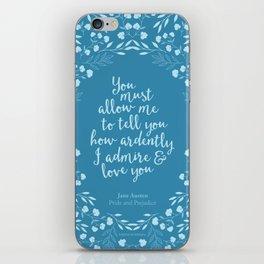 Jane Austen Pride and Prejudice Quote iPhone Skin