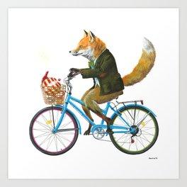 Fox goes to Tea (white) Art Print