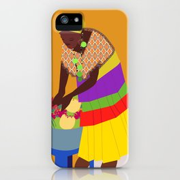 woman and a bowl of fruit  iPhone Case
