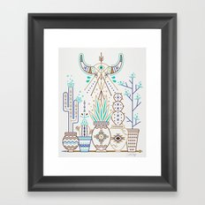 Santa Fe Garden – Turquoise & Brown Framed Art Print