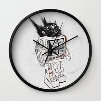 army Wall Clocks featuring robot army by Tom Kitchen