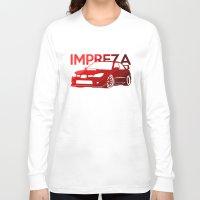 subaru Long Sleeve T-shirts featuring Subaru Impreza 2006 - classic red - by Vehicle