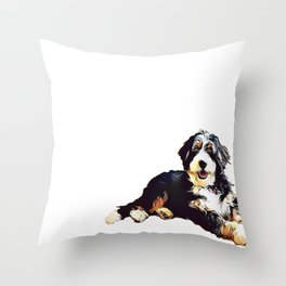 Bernedoodle  Throw Pillow