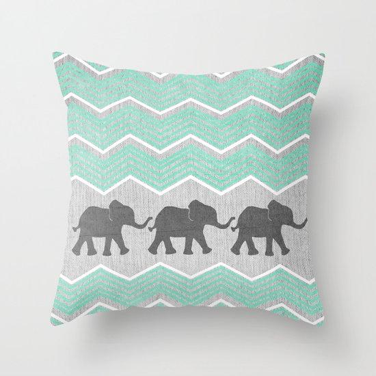 Grey Elephant Throw Pillow : Three Elephants - Teal and White Chevron on Grey Throw Pillow by Tangerine-Tane Society6
